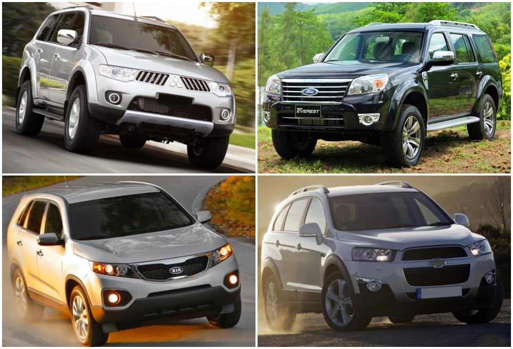 So sánh xe Mitsubishi Pajero Sport, Ford Everest, Chevrolet Captiva và Kia Sorento