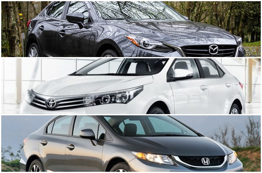 So sánh Toyota Altis, Honda Civic và Mazda 3 phiên bản 2014