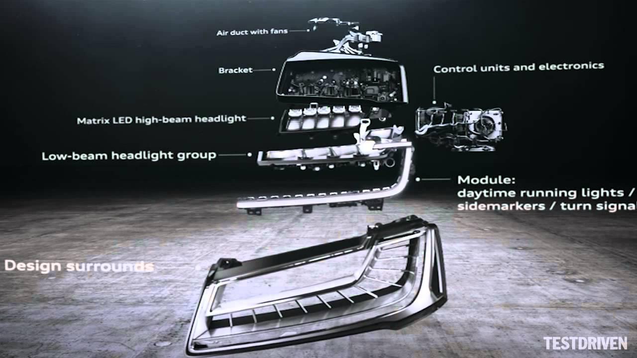 Trên A8, hệ thống đèn Matrix là sự kết hợp 25 đèn LED cường độ cao vào mỗi đèn pha,