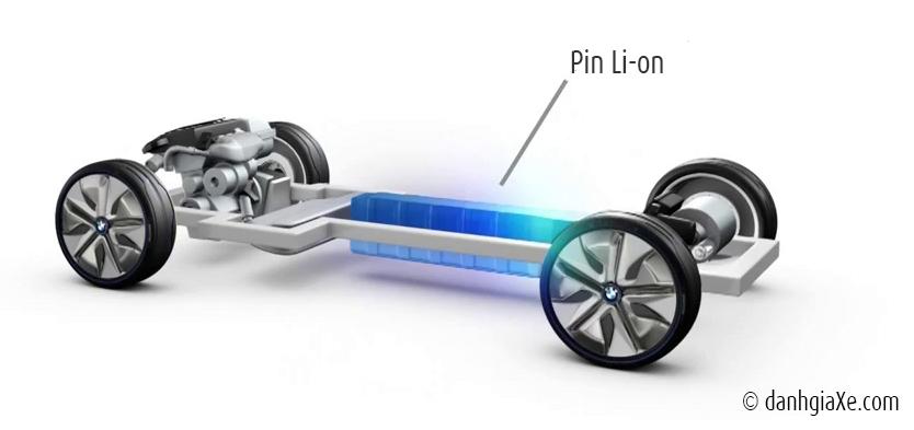 Hệ thống pin Li-on nằm ở giữa xe