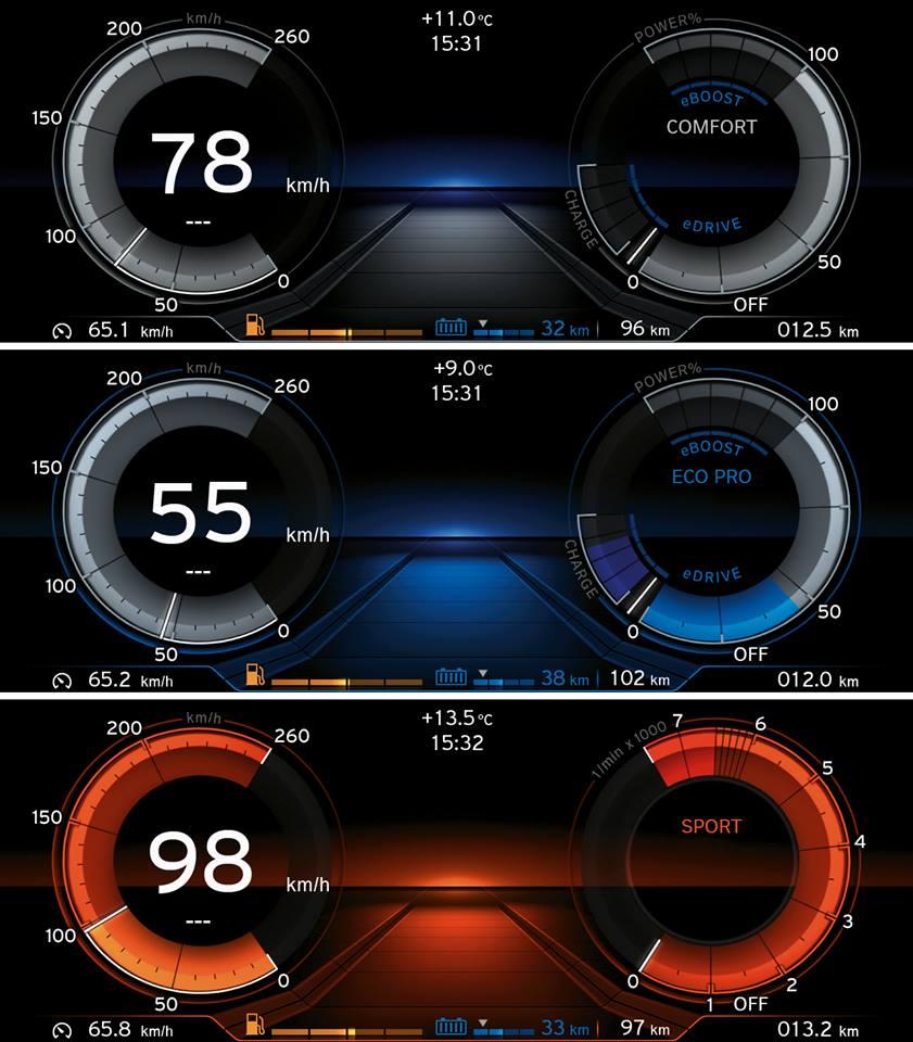 Màn hình điều khiển 8,8 inch hiển thị nàu sắc khác nhau cho mỗi chế độ lái