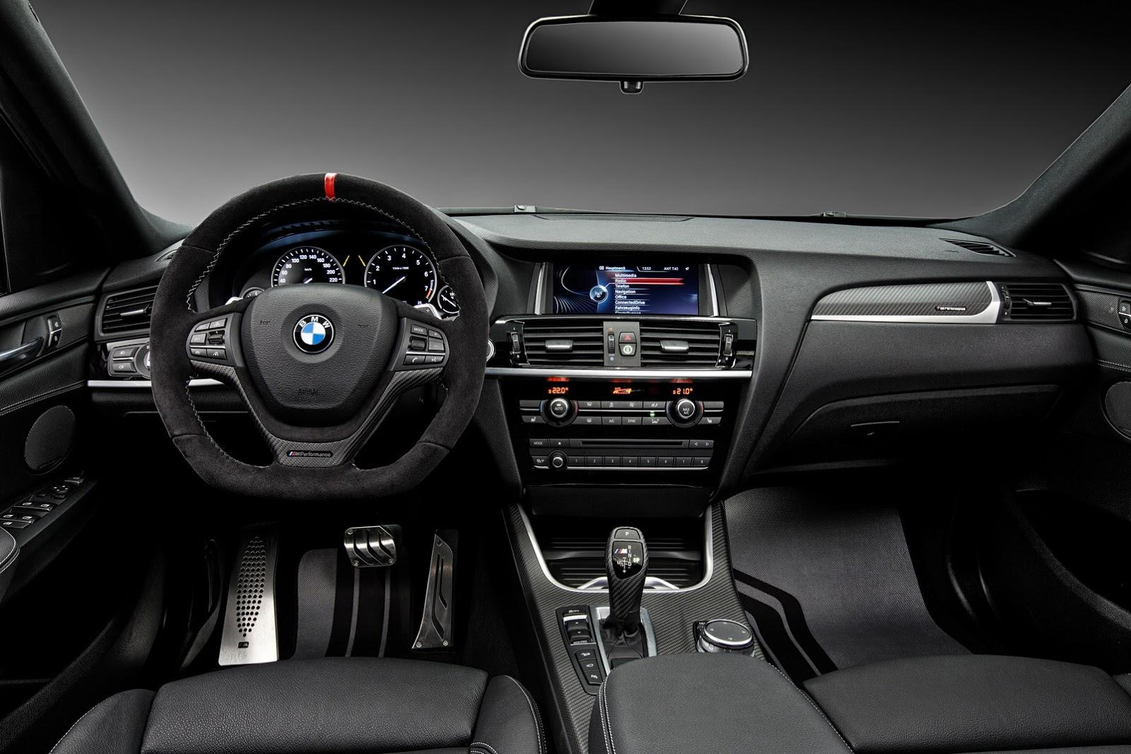 Nội thất của X3 và X4 M Facelift được trang trí bằng Carbon và Alcantara